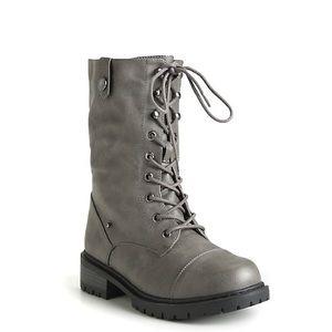TORRID Gray Foldover Combat Boots 9